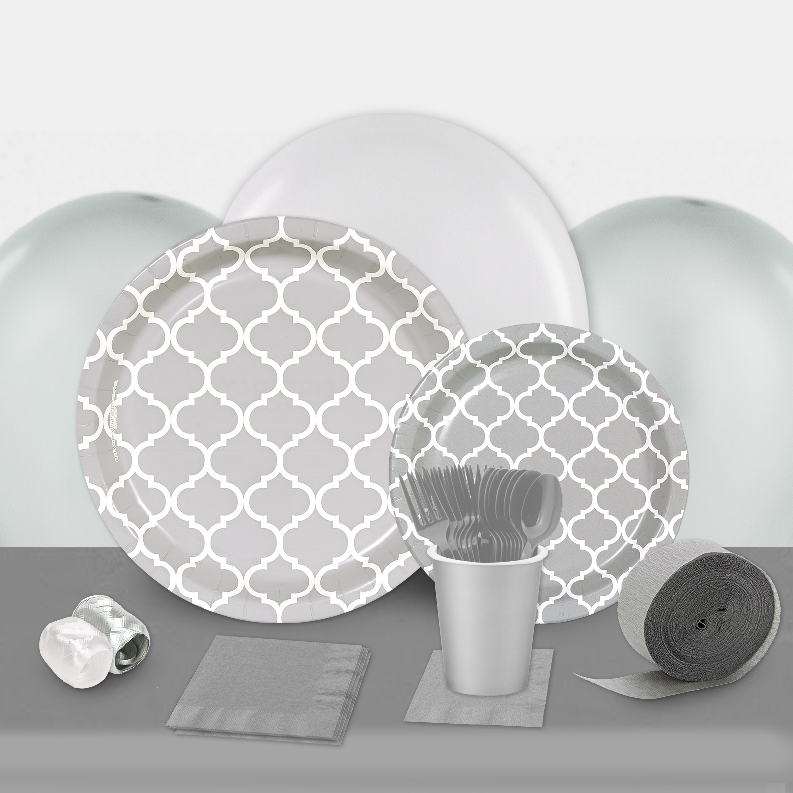 Medium Gray Quatrefoil Party in a Box-Basic