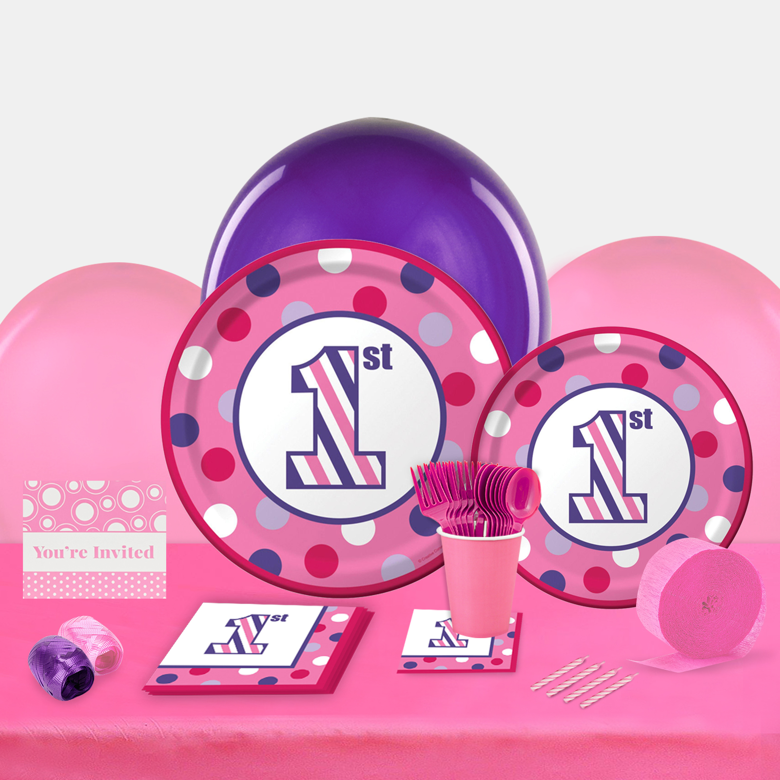 1st Birthday Girl Sweet Stripes Party in a Box For 8-Basic