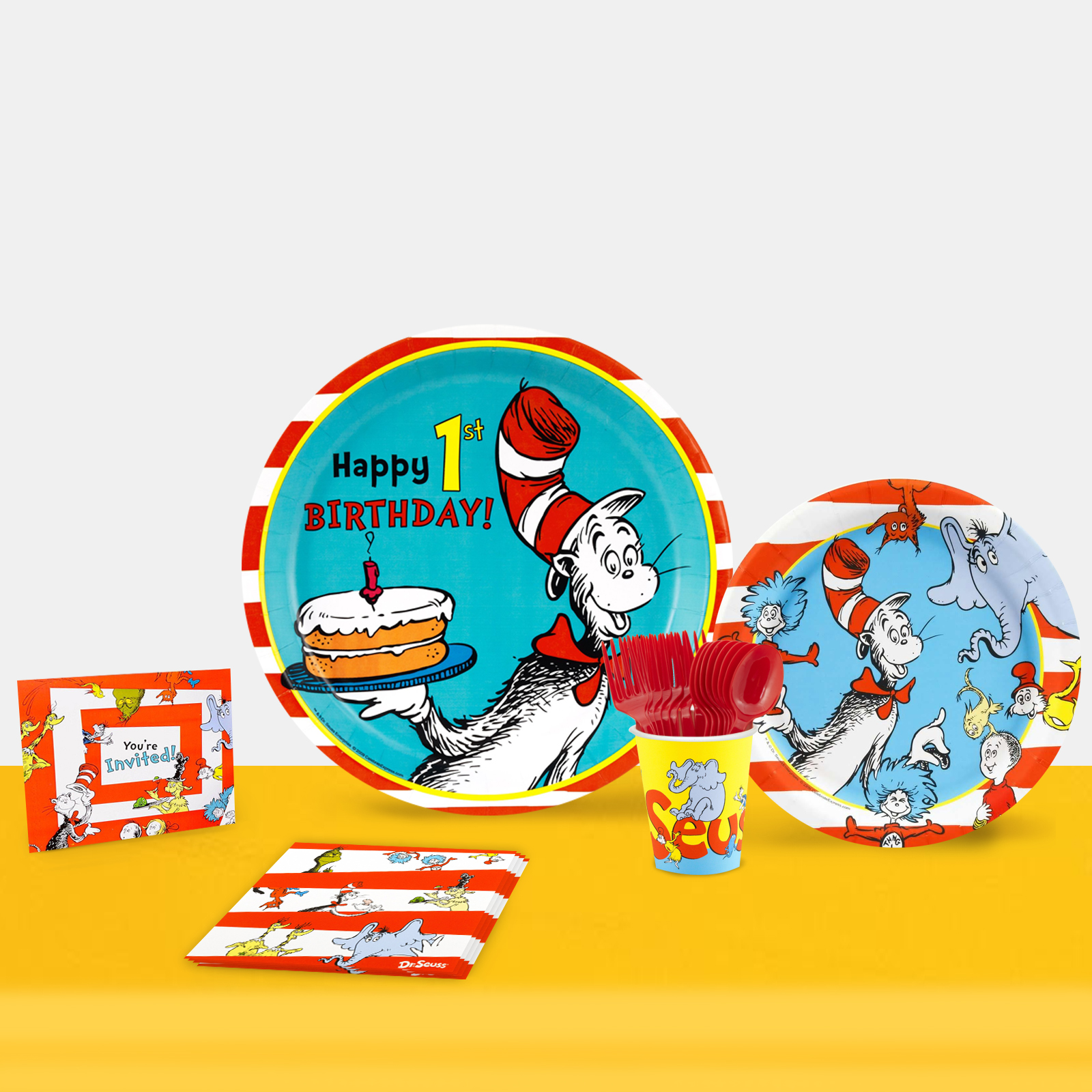 Dr. Seuss 1st Birthday Party in a Box For 16-Basic