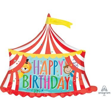 "28"" Happy Birthday Circus Tent Foil Balloon"