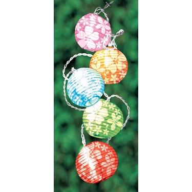 Round Lanterns with White Hibiscus Light Set