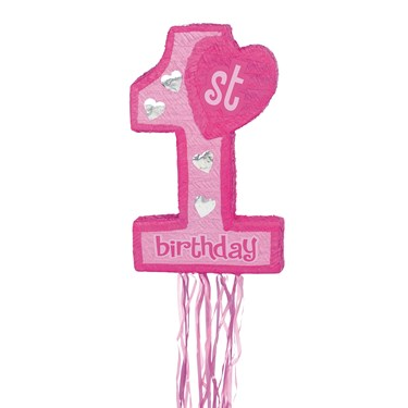 Pink 1st Birthday Pull String Pinata
