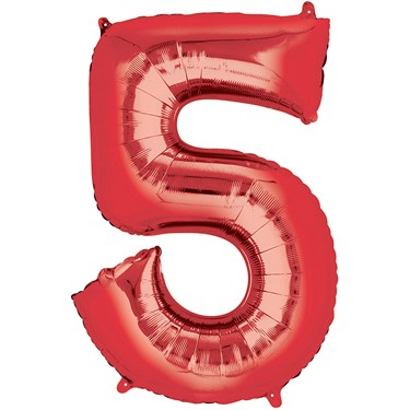"""33"""" Number 5 Shaped Foil Balloon - Red"""