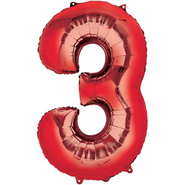 """34"""" Number 3 Shaped Foil Balloon - Red"""
