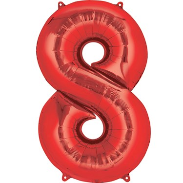 """34"""" Number 8 Shaped Foil Balloon - Red"""