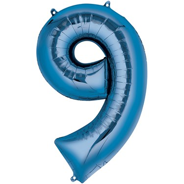 """34"""" Number 9 Shaped Foil Balloon - Blue"""