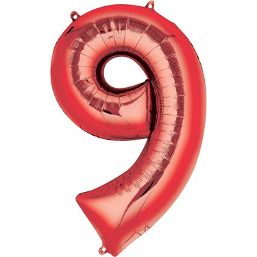 "34"" Number 9 Shaped Foil Balloon - Red"