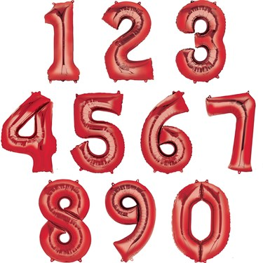 """35"""" Number 0 Shaped Foil Balloon - Red"""