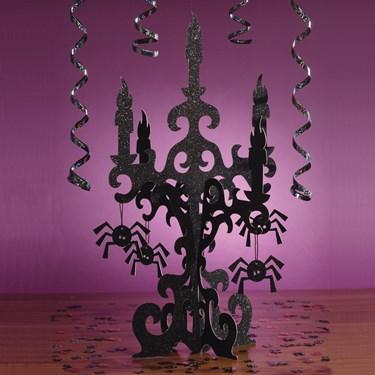 3D Glitter Candelabra Centerpiece