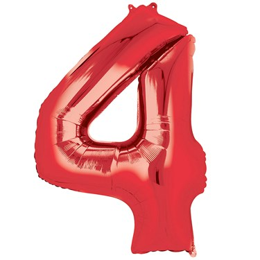"""36"""" Number 4 Shaped Foil Balloon - Red"""