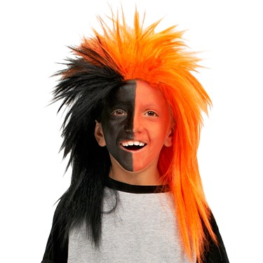 Orange and Black Sports Fanatic Wig