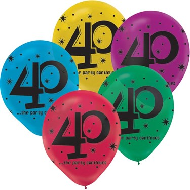 40th Celebration Latex Printed Balloons