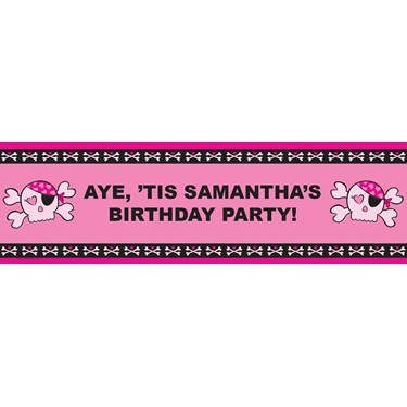 Pink Skull Personalized Birthday Banner