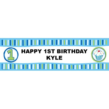 Blue Lil' Cupcake Personalized Vinyl Banner