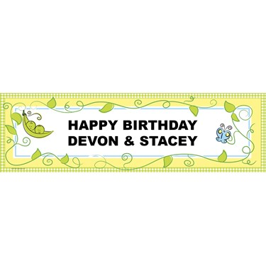 Two Peas in a Pod Personalized Birthday Banner