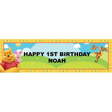 Disney Pooh's Happy Day Personalized Birthday Banner