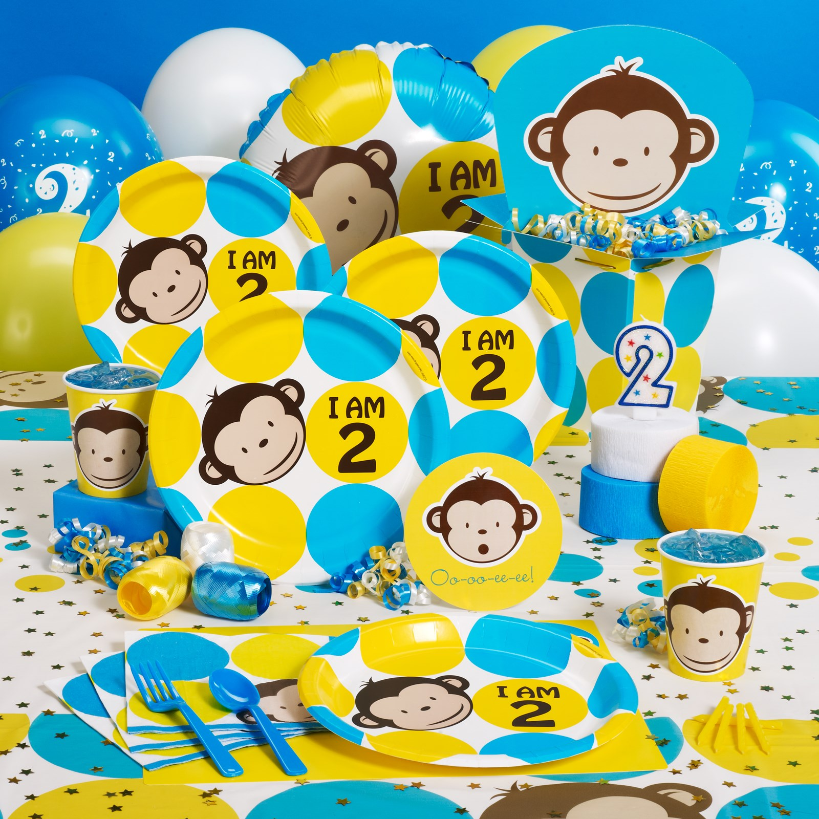 Mod monkey 2nd birthday party supplies for 2nd birthday party decoration
