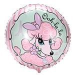 Pink Poodle in Paris Foil Balloon
