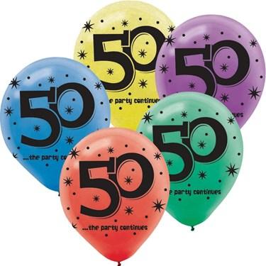 50th Celebration Latex Printed Balloons