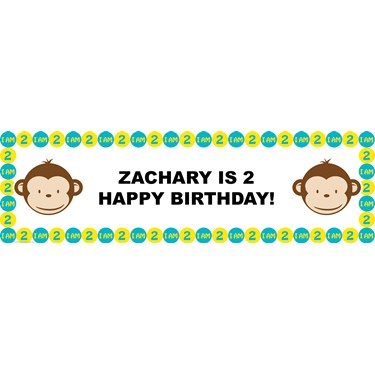 Mod Monkey 2nd Personalized Birthday Banner