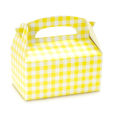 Empty Yellow Gingham Favor Boxes