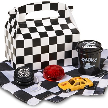Black and White Check Birthday Filled Party Favor Box