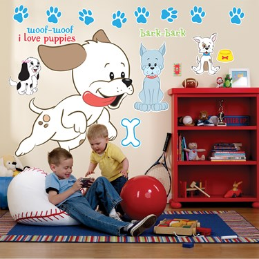 I Love Puppies Giant Wall Decals