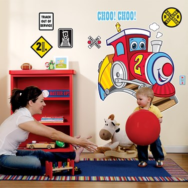 Two-Two Train 2nd Birthday Giant Wall Decals