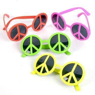 Neon Peace Sign Sunglasses Asst.