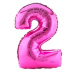 Pink #2 Shaped Foil Balloon