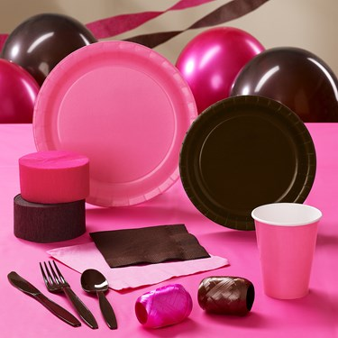 Brown & Hot Pink Party Supplies