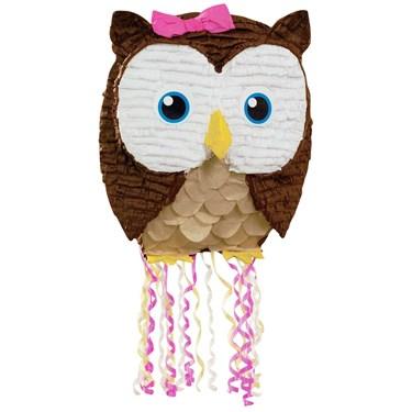 Owl Pink Pull-String Pinata