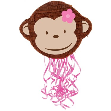 Pink Mod Monkey Pull-String Pinata