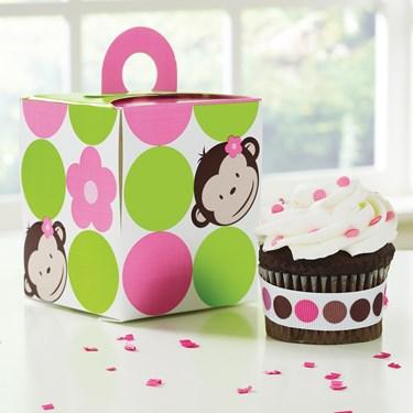 Pink Mod Monkey Cupcake Boxes