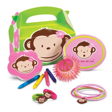 Pink Mod Monkey Filled Party Favor Box
