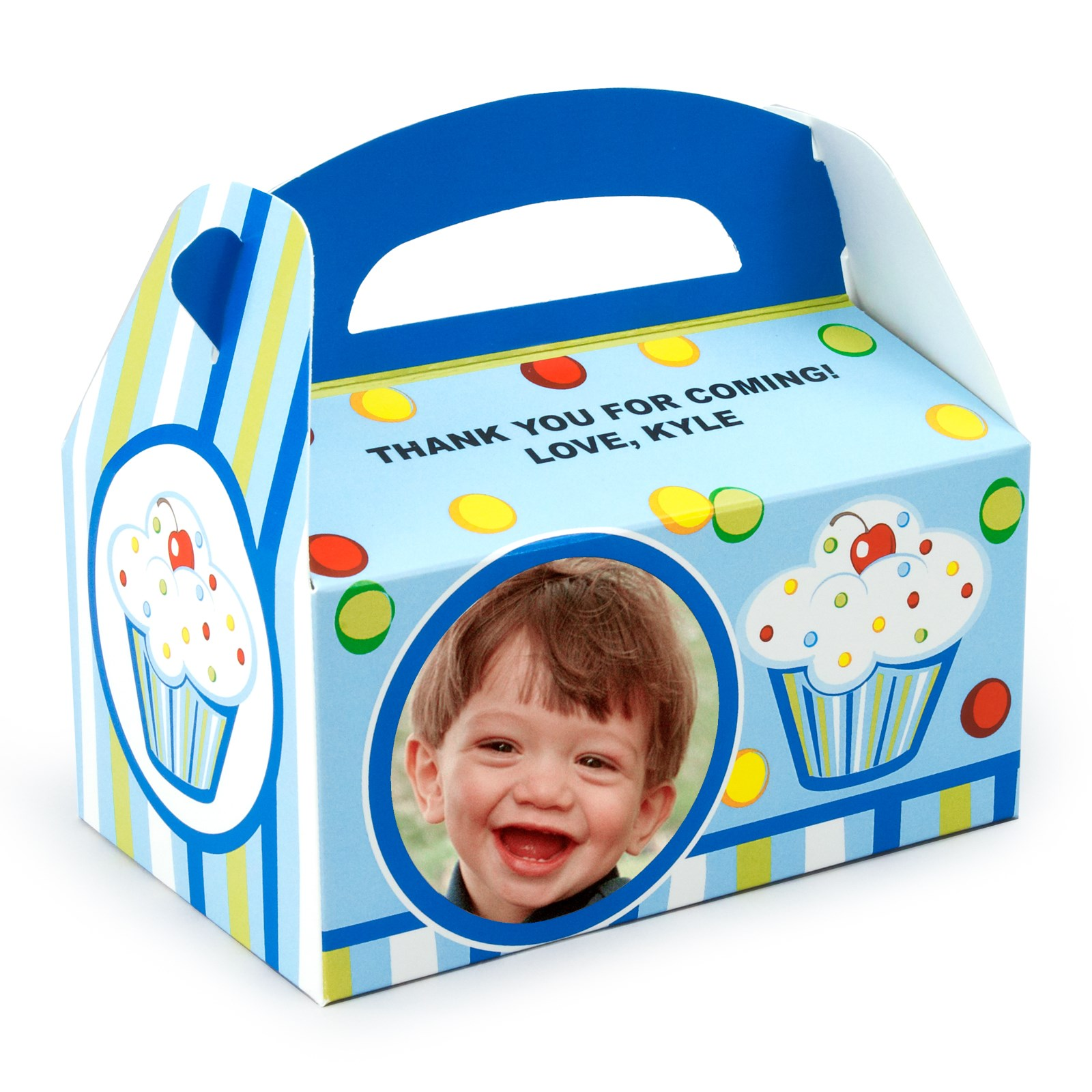 Personalized 1st Birthday Favor Boxes : Boy s lil cupcake st birthday personalized empty favor