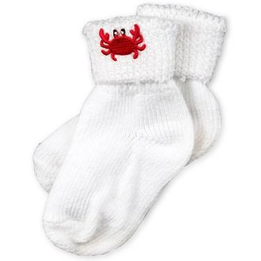 White Cotton Socks with Crab Applique