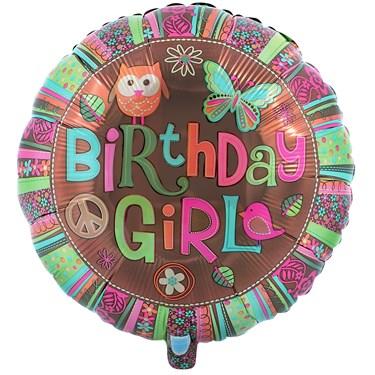 Hippie Chick Birthday Foil Balloon