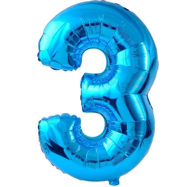 #3 Blue Foil Balloon