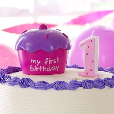 Pink 1st Birthday Cupcake Cake Topper