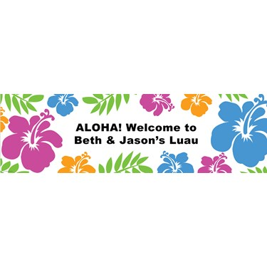 Hibiscus White Luau Personalized Banner