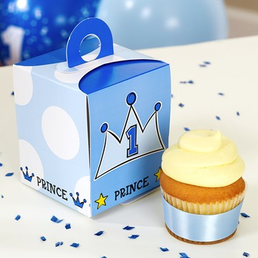 Lil' Prince 1st Birthday Cupcake Boxes