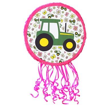 "John Deere Pink 18"" Pull-String Tractor Pinata"