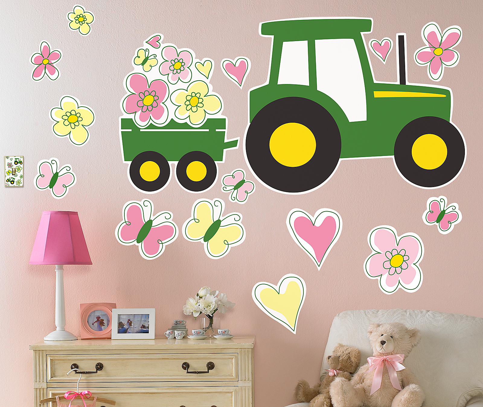 Default Image   John Deere Pink Giant Wall Decals