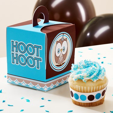 Look Whoo's 1 - Blue Cupcake Boxes