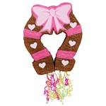 "Pink Cowgirl 19"" Pull-String Horseshoe Pinata"