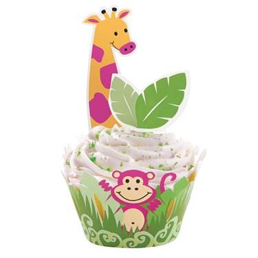 Jungle Pals Cupcake Wraps 'N Pix Set