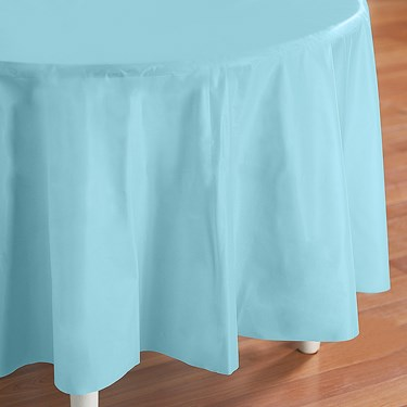 Pastel Blue (Light Blue) Round Plastic Tablecover