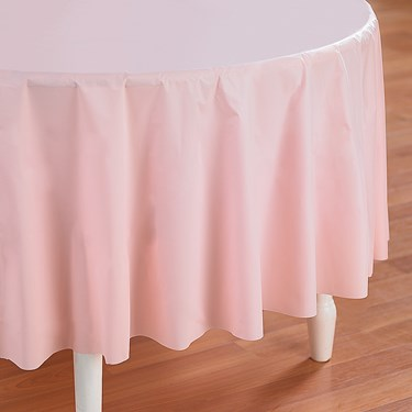 Classic Pink (Light Pink) Round Plastic Tablecover