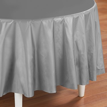 Shimmering Silver (Silver) Round Plastic Tablecover